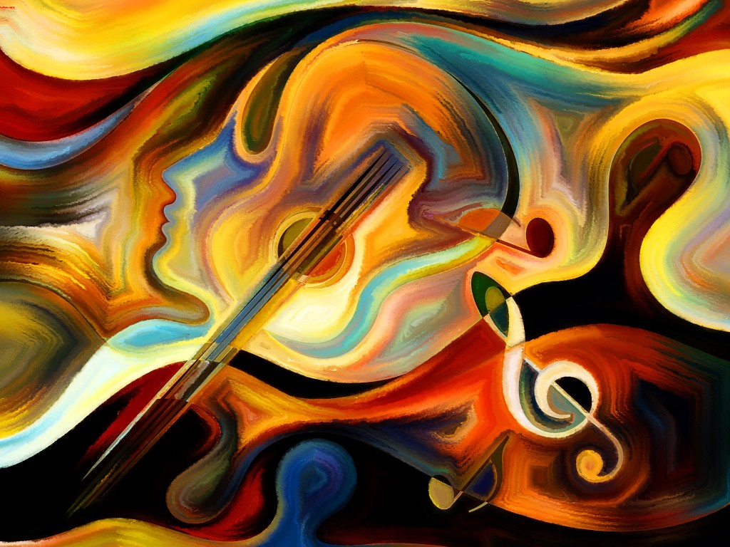 Inner Melody series. Arrangement of colorful human and musical shapes on the subject of spirituality of music and performing arts
